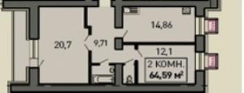 Продажа 2-к квартиры ул.Лукина д.52, 70.0 м² (миниатюра №2)