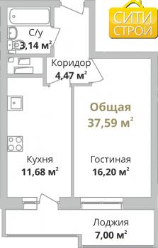 Продажа 1-к квартиры Камая, 3 очередь, 37.0 м² (миниатюра №2)