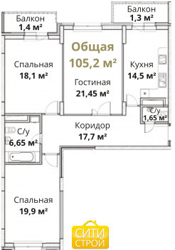 Продажа 3-к квартиры Камая, д.8а, 2 очередь, 104.0 м² (миниатюра №3)