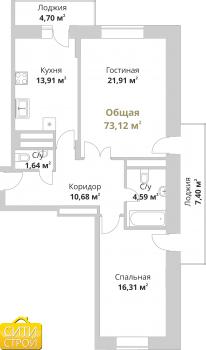 Продажа 2-к квартиры Фучика,14В, 73.6 м² (миниатюра №2)