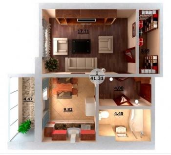 Продажа 1-к квартиры Мамадышский тракт / Натана Рахлина 7Б, 41.0 м² (миниатюра №2)