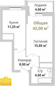 Продажа 1-к квартиры Гвардейская, 41.6 м² (миниатюра №1)