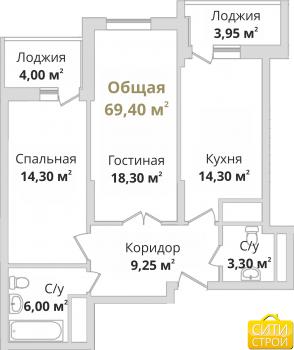 Продажа 2-к квартиры Гвардейская