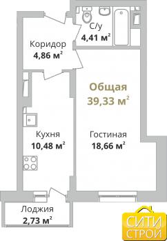 Продажа 1-к квартиры Камая, 3 очередь, 39.0 м² (миниатюра №1)