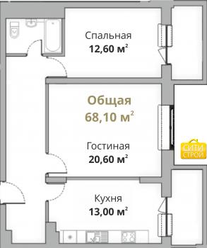 Продажа 2-к квартиры Камая 8, 1 очередь, 69 м² (миниатюра №1)