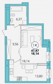 Продажа 1-к квартиры Дубравная д.28А, 49 м² (миниатюра №2)