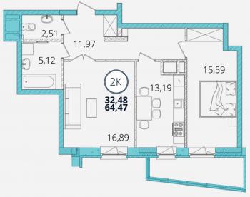 Продажа 2-к квартиры Дубравная д. 28А, 65.0 м² (миниатюра №3)