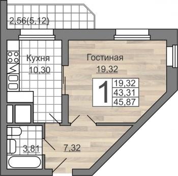 Продажа 1-к квартиры Гвардейская 59а, 43 м² (миниатюра №1)