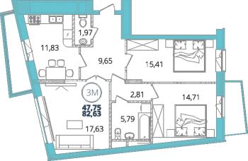 Продажа 3-к квартиры дубравная 28А, 83 м² (миниатюра №3)