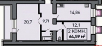 Продажа 2-к квартиры Лукина д.52, 66.0 м² (миниатюра №1)