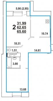 Продажа 2-к квартиры Ноксинский спуск , 65.6 м² (миниатюра №2)
