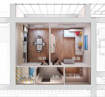 Продажа 1-к квартиры Отрадная,48, 44.0 м² (миниатюра №2)