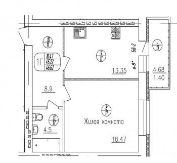 Продажа 1-к квартиры копылова 9, 47.0 м² (миниатюра №2)