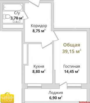 Продажа 1-к квартиры Гвардейская, 38.3 м² (миниатюра №2)