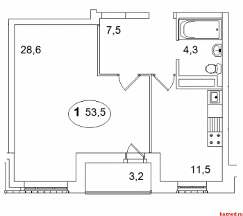 Продажа 1-к квартиры Айвазовского, 16, 53.5 м² (миниатюра №2)