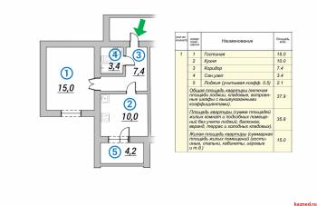 Продажа 1-к квартиры 1-ая Азинская, 38 м² (миниатюра №1)