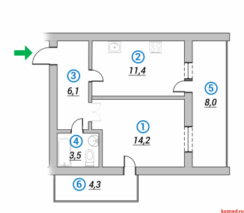 Продажа 2-к квартиры 1-ая Азинская, 42.0 м² (миниатюра №1)
