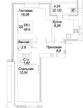 """Продажа 2-к квартиры Гоголя, дом 31 """"А"""", 50 м² (миниатюра №6)"""