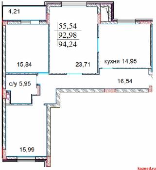 Продажа 3-к квартиры ЖК ИСКРА Шуртыгина д.7, 98 м² (миниатюра №4)