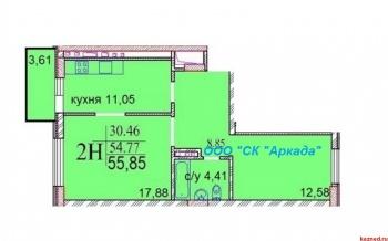 "Продажа 2-к квартиры ЖК ""ИСКРА"" Шуртыгина, д. 7, 56 м² (миниатюра №2)"