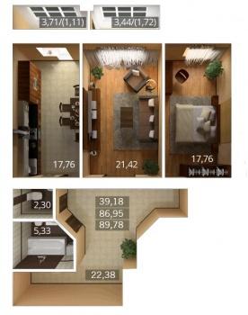 Продажа 2-к квартиры К.Насыри, 44, 80.0 м² (миниатюра №1)
