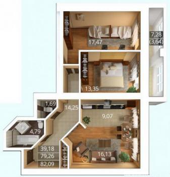 Продажа 3-к квартиры К. Насыри, 44, 94.0 м² (миниатюра №14)