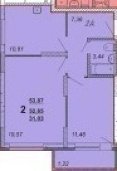 Продажа 2-к квартиры Оренбургский тракт, 53.9 м² (миниатюра №1)