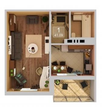 Продажа 1-к квартиры Рахлина, 41 м² (миниатюра №1)