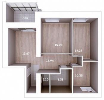 Продажа 3-к квартиры Мамадышский тракт, 3, 81.8 м² (миниатюра №1)