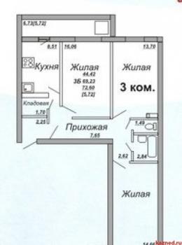 Продажа 3-к квартиры Осиново, Позиция 16, 72.0 м² (миниатюра №1)