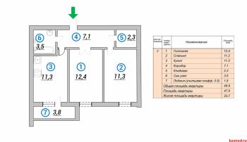 Продажа 2-к квартиры 1-я Азинская 43, 49.8 м² (миниатюра №3)
