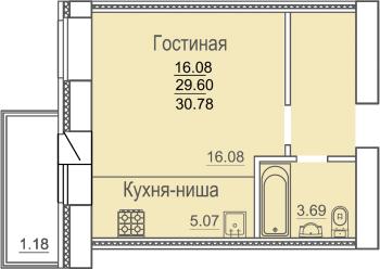 Продажа 1-к квартиры Родины
