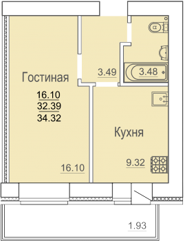Продажа 1-к квартиры ул.Родины