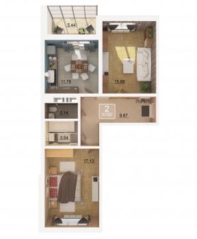 Продажа 2-к квартиры Баки Урманче