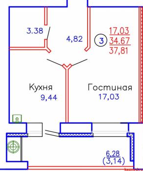 Продажа 1-к квартиры ул.Приволжская, д.102, корпус 3